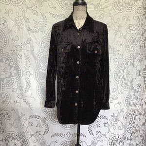 Vintage Carole Little- Velvet Button Down Blouse